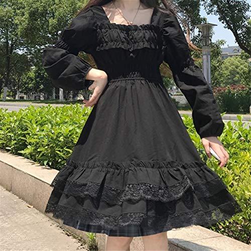 Yunbai Japanische Frauen Gothic Square Kragen Spitze Rüschen Schwarz Lolita Kleid Herbst Mädchen Punk Stil Langarm Mini Kleider (Color : Long Sleeve, Size : Large)