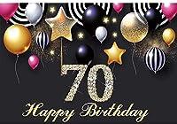 新しい2.1x1.5mVinyl誕生日の背景70歳の誕生日の背景フォトグラフィア子パーティーのための黒い風船キラキラダイヤモンド背景