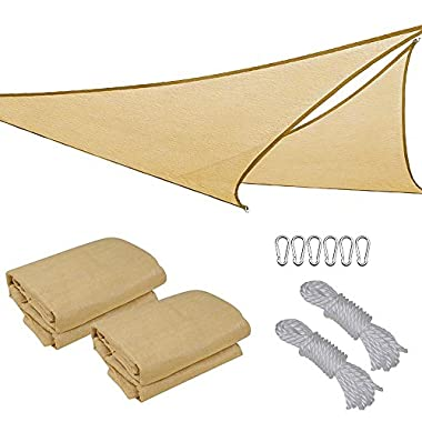 2x 16.5' Triangle Sun Shade Sail Patio Deck Beach Garden Yard Outdoor Canopy Cover UV Blocking (Desert Sand)