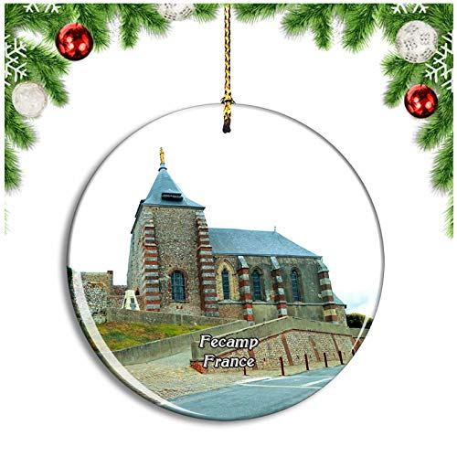 Weekino Fecamp France Chapel Notre-Dame-du-Salut Christmas Ornament Xmas Tree Decoration Hanging Pendant Travel Souvenir Collection Double Sided Porcelain 2.85 Inch