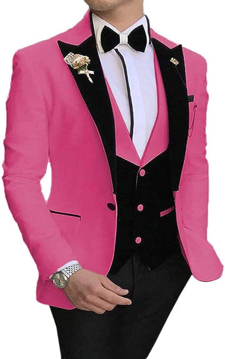 RONGKIM Men's Casual 3 Pieces Suit Slim Fit Black Notch Lapel Best Man Tuxedos for Wedding Party Suits