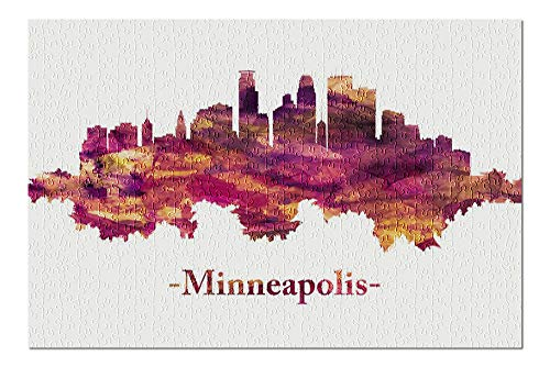 Lantern Press Minneapolis, Minnesota - Skyline in Red Watercolor Painting 9008592 (500 Piece Premium Jigsaw Puzzle for Adults and Family, 13x19)