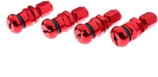 4 Pieces Car/Truck/Bike Tire Wheel Rims Stem Air Valve Caps Tyre Cover (Red)