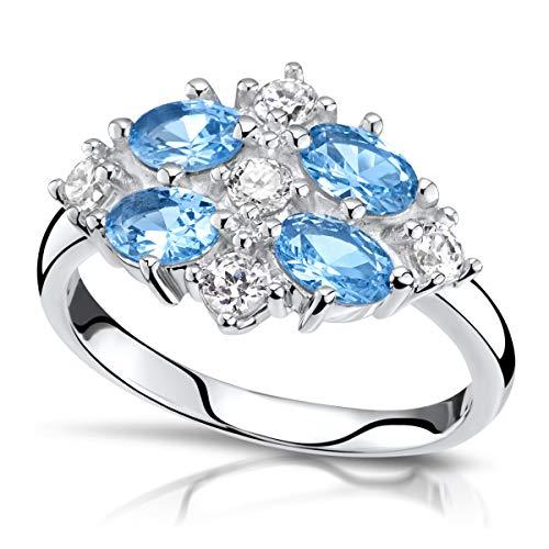 MATERIA Zirkonia Ring Damen blau weiß - 925 Silberring Cocktail-Ringe rhodiniert 18.1mm in Geschenk-Box SR-146-B-57