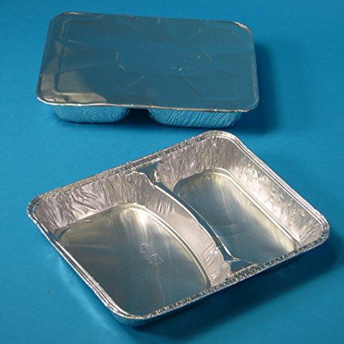 500 Aluschalen Assietten Aluminiumschalen Aluminium Menüschalen ECO zweigeteilt 2-geteilt flach 227x177x30mm mit Alu Deckel