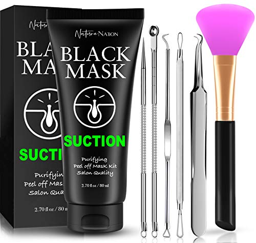Blackhead Remover Mask Valuable 3-in-1 Kit Nature Nation Purifying Peel Off Mask, With 5 Blackhead & Pimple Comedone Extractors and Silicone Brush, Deep Cleansing Blackheads Removal Mask Kit (Classic)