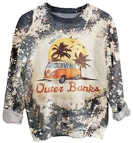 Womens Pogue Life Outer Banks Sweatshirt Cute Bleached Tie Dye Surfing Lover Pullover Palm Tree Bus Graphic Tee Tops (Grey, S)