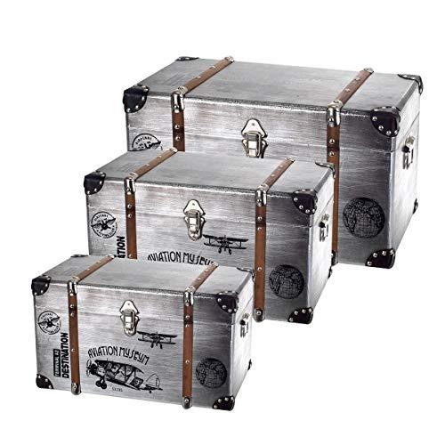 Set Caja Almacenaje x3 Madera Aluminio Baúl Estilo Maleta Vintage 3 Tamaños