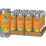 V8 +Energy, Sparkling Juice Drink with Green Tea, Orange Pineapple, 12 Fl Oz (Pack of 12)