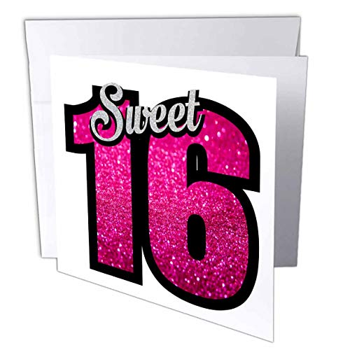 3dRose Sweet Sixteen with Pink Glitter for Birthday Girl Women Gift Happy - Greeting Card, 6