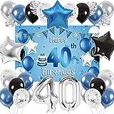 SPECOOL 40 Años Globos Decoración Cumpleaños, Globo Fiesta de Globos Metálicos Azul Plata, Globos Negros para Fiesta de Cumpleaños para Hombres Niño Niña con Hojas de Palmera y Fondo Decorativo (40)