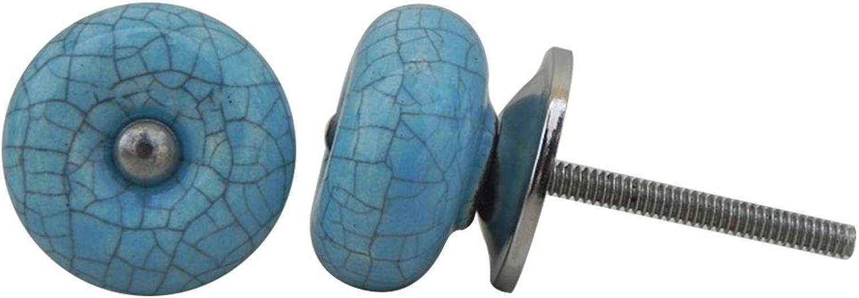 IndianShelf Handmade 10 Piece Turquoise Crackle Artistic Designer Drawer Knobs Cabinet Pulls