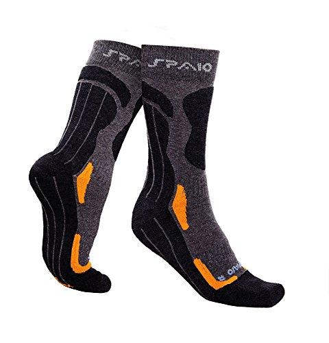 SPAIO Chaussettes Unisexe Trekking Coolmax, Gris/Orange, 41-43