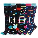 HLTPRO Compression Socks for Women & Men - 6 Pairs 20-30 mmHg Compression Stockings for Medical, Nurse, Running