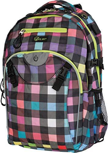Wheel-Bee Schulrucksack Generation Z, verschiedene Farben wählbar, LED Licht für Sicherheit und Sichtbarkeit, trendiger Backpack, USB Port, Kopfhörer-Ausgang, viele Fächer