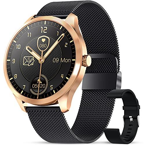GOKOO Smartwatch Reloj Inteligente con Pulsómetro Cronómetros Calorías con música Monitor de Sueño Podómetro de Actividad Impermeable IP67 Smartwatch Hombre Reloj Deportivo para Android iOS(oro negro)