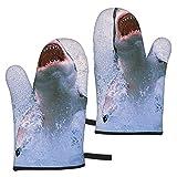 Ye Hua Sharks Leap For Prey Oven Mitts Guantes de Barbacoa - Relleno de algodón Reciclado Guantes de Cocina Antideslizantes para Cocina Cocinar Hornear Asar a la Parrilla
