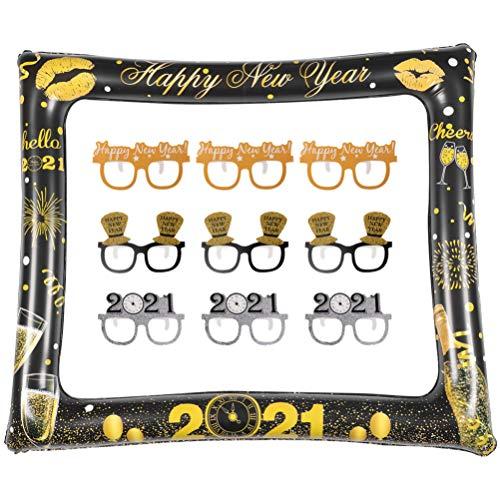 PRETYZOOM 2021 Neujahr Aufblasbare Fotorahmen Silvester Party Fotokabine Requisiten DIY Glitter Frohes Neues Jahr Papier Brillen Rahmen Neujahr Weihnachten Party Foto Requisiten 10St