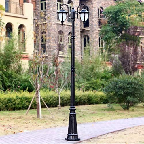 2-Head E27 Street High Glass Path Way Pillar Lantern IP54 Poste de Poste al Aire Libre Impermeable Luz de la Comunidad Villa Césped Jardín Lámpara de Columna Decorativa