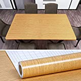 """VEELIKE 354""""x15.8"""" Brown Wood Grain Contact Paper Stick on Countertop Wall Paper Peel and Stick Removale Wallpaper Wood Texture Wall Covering Waterproof Self-Adhesive Paper Roll for Cabinet Locker"""
