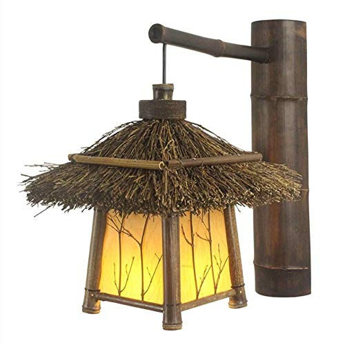 Hancoc lamparas Madera Cubierta Decorativa Lámpara De Pared, Pared Tejida A Mano De La Vendimia De Iluminación De La Lámpara For El Balcón Pasillo Sala De Estar Pasillo-Amarillo H40cm