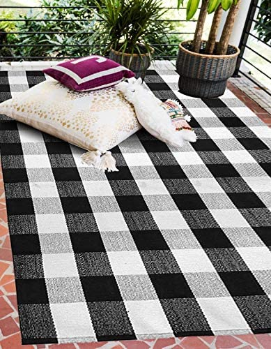 EARTHALL Buffalo Plaid Rug Outdoor 4 x 6 Cotton Hand Woven Checkered Door Mat Washable Outdoor product image