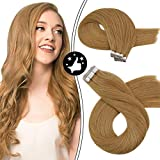 Morsoo Golden Blonde Hair Extensions Tape in Hair Extensions Human Hair 16inch Hair Extensions Blonde #14A Tape in Remy Hair Thick Seamless Skin Weft 20PCS/50Grams