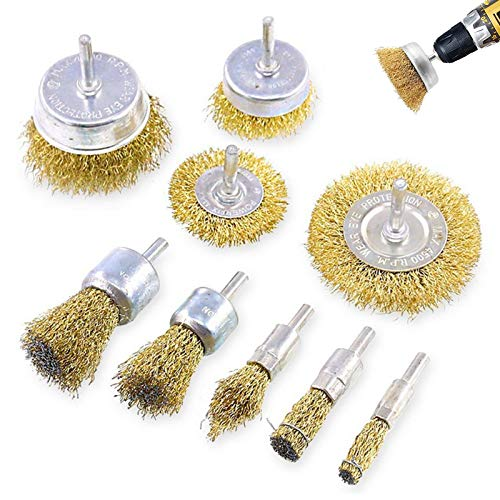 9 Pcs Steel Wire Brush Wheel,Cup Brushes 1/4 in Shank, Brass Coated Wire Brush Wheel for Removal of Rust,Corrosion,Paint, Multi Sizes Wire Brushes Drill Bit Set