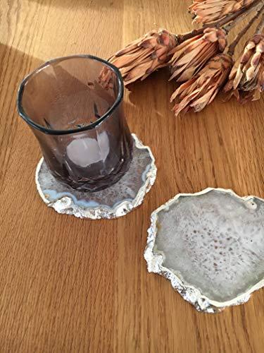 Discos de ágata natural para decoración de mesa, 80-110 mm, color blanco con borde plateado (juego de 2 unidades)