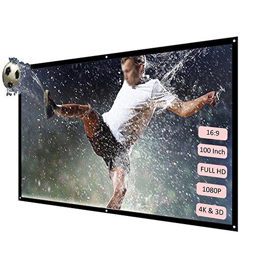 H100 100 '' Tragbar Projektor Leinwand Projektor Schirm HD 16: 9 weißes Dacron 100 Zoll-Diagonaler Projektions-Bildschirm Faltbares Heimkino für Wand-Projektion zuhause draußen