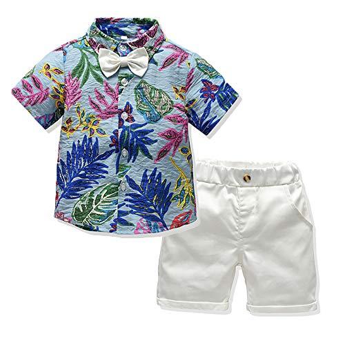 I3CKIZCE Set di 2 pezzi per bambini e ragazzi, a maniche corte, con cravatta e pantaloncini rossi, per l'estate, 1-5 anni Blu 18-24 Mesi