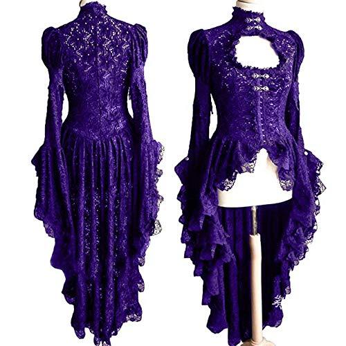 Topashe Disfraz Medieval de Mujer Vestido,Vestido Hueco Medieval, Vestido de Encaje Sexy-Purple_XL,Vintage Adulto Medieval Vestido