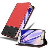 Cadorabo Funda Libro para Samsung Galaxy S7 en Rojo Negro - Cubierta Proteccíon con Cierre Magnético, Tarjetero y Función de Suporte - Etui Case Cover Carcasa