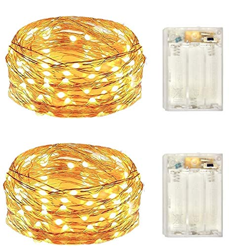2 Pack Battery Operated Mini Led Lights,Indoor Fairy Lights with Timer 6 Hours on/18 Hours Off for Christmas Party Decorations,30 Count LEDs,10 Feet Silver Wire (Warm White)