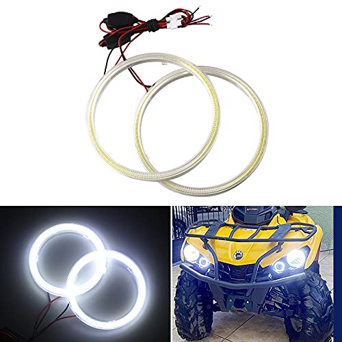 Qasim 1-Pair Super White 100MM 72SMD COB LED Halo Ring Angel Eyes Led Headlight with lampshade Cover 12V 24V