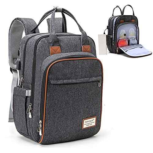 Diaper Bag Backpack,with Portable Bottle Warmer,Large Unisex Baby Bags for Boys Girls,Waterproof Stylish Travel Back Pack