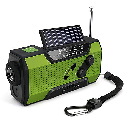 Volwco Solar Radio Kurbelradio, FM/NOAA Wetter Radio Dynamo Radio 2000mAh Handy Ladegerät Powerbank Taschenlampe SOS Lampe Notfall Radio für Wandern, Camping, Ourdoor, Notfall