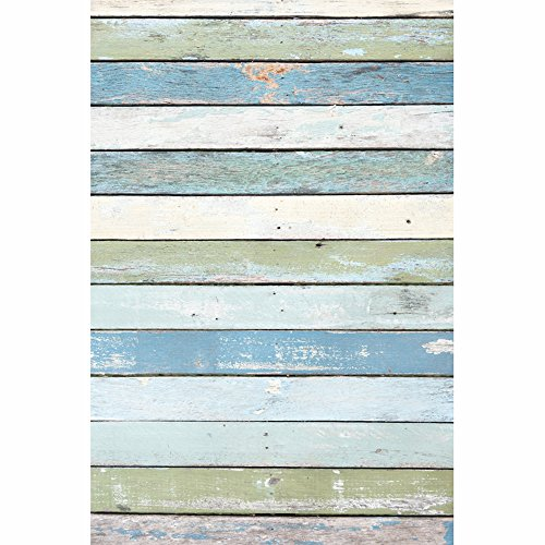 KonPon 3x5ft Silk Cloth Vintage Colourful Planks Photography Backdrop For Newborn Background KP-076