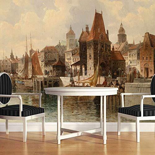 Architectuur, Olie schilderijen, Riverside City Woonkamer, TV Achtergrond, Wanddoek, Slaapkamer, Zijdoek, Film en TV Muur. 150×105cm 150 x 105 cm.