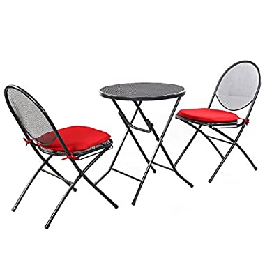 Giantex 3 PCS Folding Steel Mesh Outdoor Patio Table Chair Garden Backyard Furniture Set
