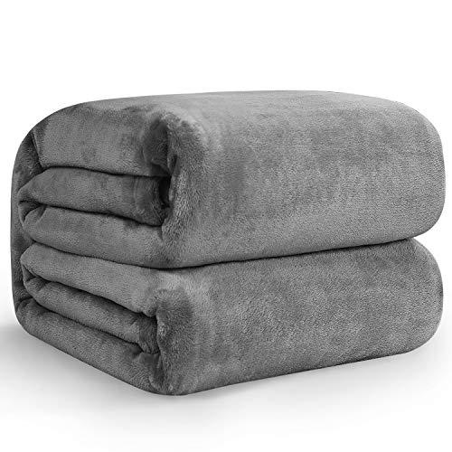 Hansleep Kuscheldecke Grau 150x200 cm Wohndecke Fleecedecke extra Weich & Warm Sofadecke/Couchdecke Flauschige Decke Mikrofaser Bettüberwurf Tagesdecke