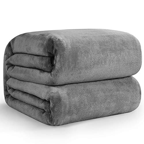 Hansleep Fluffy Flannel Fleece Throw Blankets Queen Size 240x220cm - Ultra Soft and Warm Solid Blanket Microfibre for Sofa and Bed, Grey