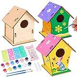 colmanda Casetta Uccelli Costruire Fai da Te, 3 Pack Casette per Uccelli da Dipingere Kit Casetta Uccelli Legno, Artigianato Casetta Uccelli in Legno Artigianato per Bambini Regalo