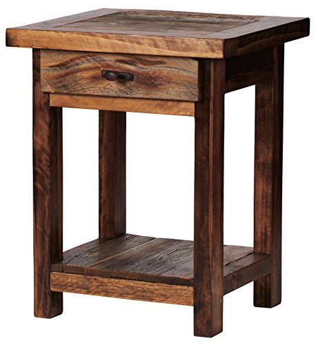 "Mountain Woods Furniture The Wyoming Collection One-Drawer High Nightstand, Antler Pull, 30"" High"