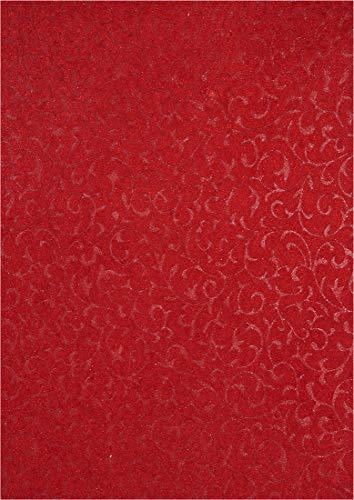 Netuno 5X Rot Dekorpapier, geprägt- Spitzenmuster mit Samt-Haptik, 180x250mm, handgemacht Effekt-Karton, 150g, ideal für Einladungskarten, Hochzeit, Taufe, Weihnachten, Basteln, Dekorationen