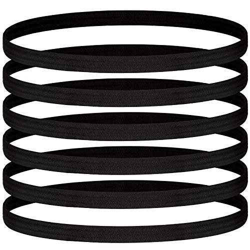 24 Pieces Thin Elastic Sports Headbands Non-slip Skinny Hair Bands No Crease Soft Headbands Sweatband for Men Women Football, Basketball, Soccer, Tennis, Yoga, Sports, Black