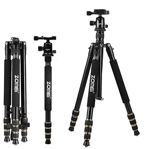 Zomei Q666 portatile professionale telecamera treppiede - 163,8 cm con monopiede regolabile e testa a sfera a 360 ° - leggero e compatto - stabile a supporto per Canon Nikon Sony telecamere - nero
