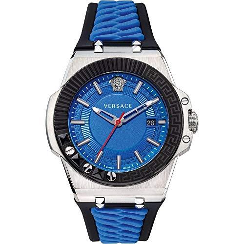 Versace Herren Armbanduhr Schweizer Uhr Chain REACER D/BLU S/BLU Steel IPBLACK TOP Ring+GRECA&Text. VEDY001 19