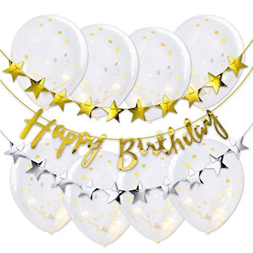 Globos XXL de plástico con decoración de cumpleaños con guirnaldas, Globos de Confeti
