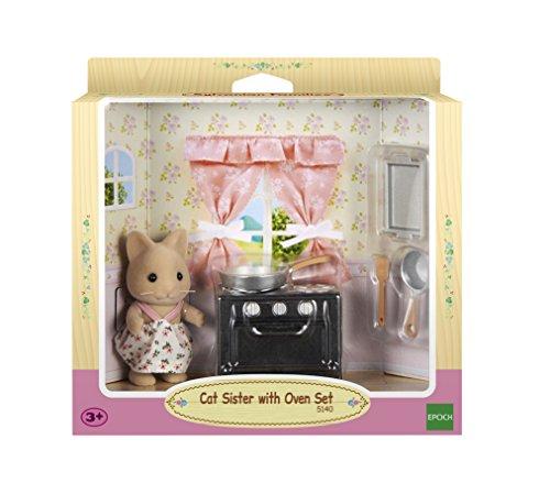 SYLVANIAN FAMILIES- Cat Sister with Oven Set Mini muñecas y Accesorios, Multicolor (Epoch 5140)